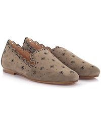 a9534f70752 Unützer - Flat Shoes Calfskin Perforated Suede Taupe - Lyst