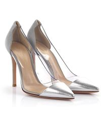 Gianvito Rossi - Court Shoes Plexi Leather Suede Silver Grey - Lyst
