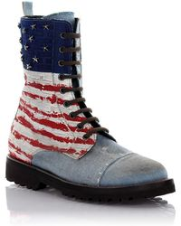 Philipp Plein | Boots I Love America Denim Blue Usa Embossement | Lyst