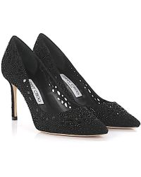 Jimmy Choo - Court Shoes Romy 85 Suede Black Design Perforated - Lyst