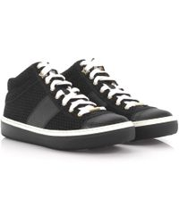 cbc44e0b81a4 Jimmy Choo - Sneakers Bells Mid Cut Suede Leather Black Triangle Embossed -  Lyst