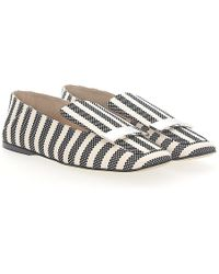 Sergio Rossi - Slipper A77990 Fabric Black Beige Checked Gold Plated - Lyst