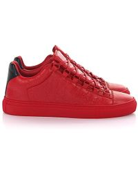 f02512d7f12e9 Balenciaga - Sneakers Arena Low Leather Red Crinkled - Lyst