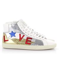 0fb7cf9f32c Saint Laurent - Sneaker High Sl/06 Love Leather White Gold Silver Glitter -  Lyst