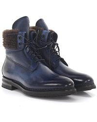 Santoni - Boots Leather Blue Finished Fur - Lyst