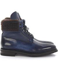 da00ef129007c0 Santoni - Boots Leather Blue Finished Fur - Lyst