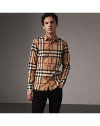 Burberry - Check Cotton Flannel Shirt - Lyst