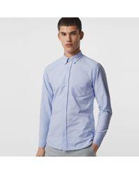 Burberry - Check Cuff Cotton Oxford Shirt - Lyst