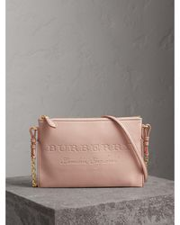 Burberry - Embossed Leather Clutch Bag - Lyst
