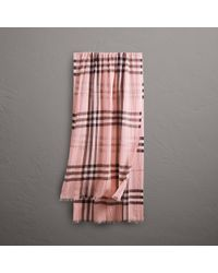 Burberry - Lightweight Check Wool And Silk Scarf Ash Rose - Lyst