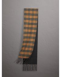 Burberry - Long Reversible Vintage Check Double-faced Cashmere Scarf - Lyst