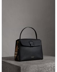 12699167da13 Burberry - Medium Grainy Leather And House Check Tote Bag Black - Lyst