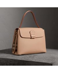 b5c63848467b Burberry The Medium Alchester House Check And Leather Bag in Red - Lyst