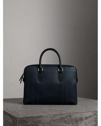 Burberry - The Slim Barrow In London Check Navy/black - Lyst