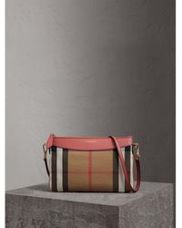 Burberry - House Check And Leather Clutch Bag Cinnamon Red - Lyst c5fdcc0d5371a
