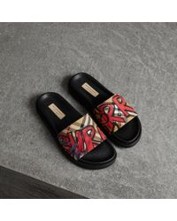 Burberry - Graffiti Print Vintage Check And Leather Slides - Lyst