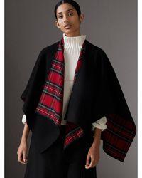 Burberry - Reversible Cropped Tartan Wool Poncho - Lyst