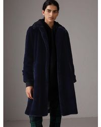 Burberry - Faux Fur Single-breasted Car Coat - Lyst
