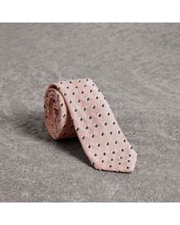 Burberry | Slim Cut Chenille Dot Cotton Silk Tie | Lyst