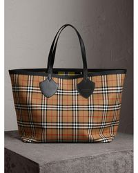 Burberry - The Giant Reversible Tote In Vintage Check - Lyst