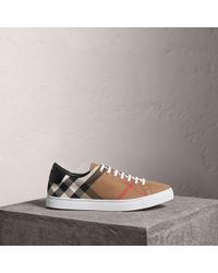 Burberry - House Check Cotton And Leather Trainers | - Lyst