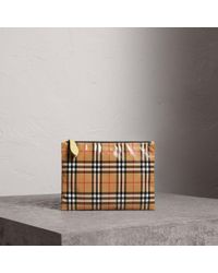 a0790aad707a Burberry - Medium Coated Vintage Check Pouch - Lyst