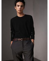 Burberry - Check Detail Merino Wool Sweater - Lyst