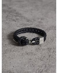 Burberry - Braided Leather Bracelet - Lyst