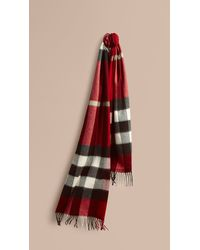 Burberry - Giant Exploded Check Cashmere Scarf - Lyst