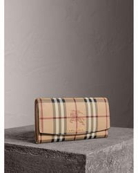 Burberry - Haymarket Check And Leather Slim Continental Wallet - Women | - Lyst
