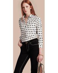 Burberry - Heart Print Linen Shirt Natural White - Lyst