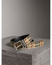 Burberry - Reversible Haymarket Check And Leather Belt - Lyst