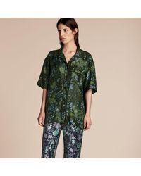 Burberry - Short-sleeved Floral Print Silk Pyjama-style Shirt Forest Green - Lyst