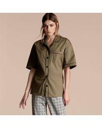 Burberry - Short-sleeved Stretch Cotton Pyjama-style Shirt - Lyst