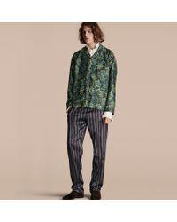Burberry - Striped Silk Cotton Pyjama-style Trousers - Lyst