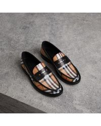 Burberry - Vintage Check And Leather Penny Loafers - Lyst