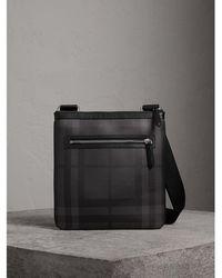 Burberry - Leather Trim London Check Crossbody Bag - Lyst