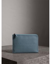 Burberry - Embossed Leather Ziparound Pouch And Coin Case - Lyst