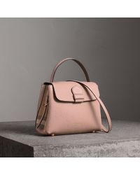 65d048d42d8a Burberry - Small Grainy Leather And House Check Tote Bag - Lyst