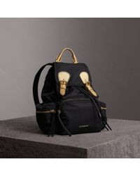 Burberry - The Medium Rucksack In Two-tone Nylon And Leather Black/gold - Lyst