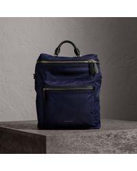 Burberry - Zip-top Leather Trim Showerproof Backpack - Lyst