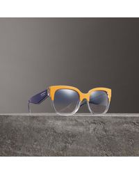 Burberry - Two-tone Oversize Square Frame Sunglasses - Lyst