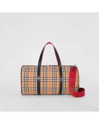 Burberry - Large Vintage Check And Leather Barrel Bag - Lyst