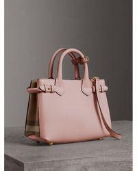 Burberry - The Small Banner In Leather And House Check Pale Orchid - Lyst