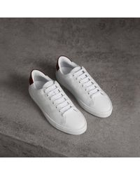 Burberry - Perforated Check Leather Trainers - Lyst