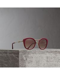 b557ec62625 Lyst - Burberry 58mm London Canvas Check Round Sunglasses in Black