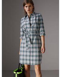 Burberry - Lace Trim Collar Check Cotton Shirt Dress - Lyst
