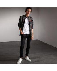 Burberry - Button-down Collar Check Stretch Cotton Blend Shirt Charcoal - Lyst