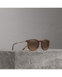 5b2c696f3e85 Burberry - Check Detail Round Frame Sunglasses In Light Brown | - Lyst