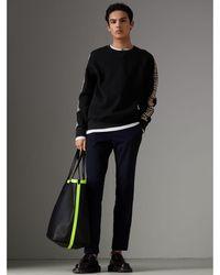 Burberry - Vintage Check Detail Cotton Blend Sweatshirt - Lyst